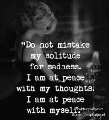 mistake my solitude for sadness